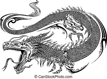 Dragon Doodle Sketch Tattoo Vector