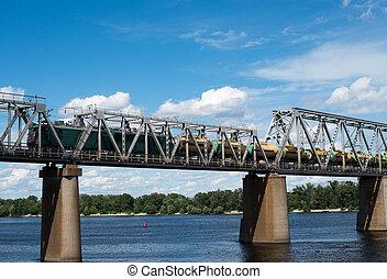 橋梁,  dnieper,  kyiv, 訓練, 貨物, 鐵路, 橫跨