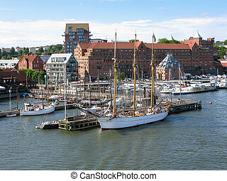 Boats in Gothenburg harbour, Sweden