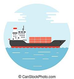 big dry cargo ship, Vector image