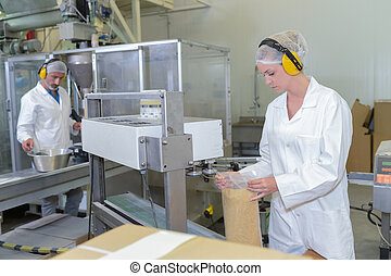 Two people working on factory production line