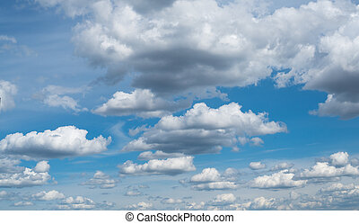 Cloudscape The blue sky with white-grey clouds