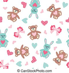 Cute seamless pattern with bear, hare, bow and heart