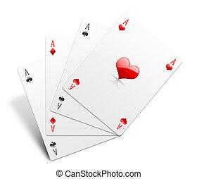 Aces on white
