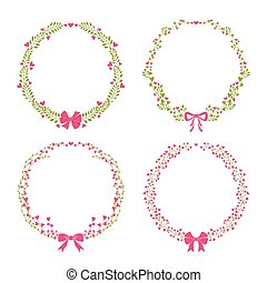 Set of floral vector frames.