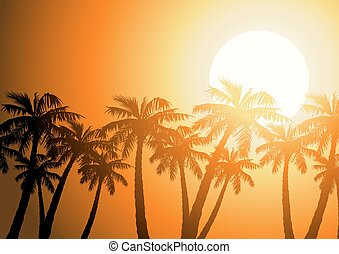 Tropical palm trees silhouette at sunrise