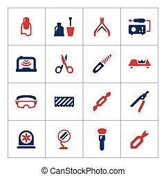 Set color icons of manicure