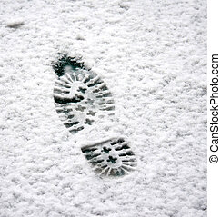 Shoe print in a snow - Picture of a Shoe print in a snow