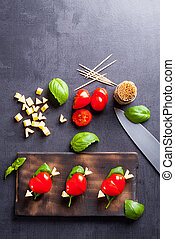 Marinated fillet with tomato heart shaped. Appetizer for a...
