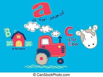 On the farm with A B C