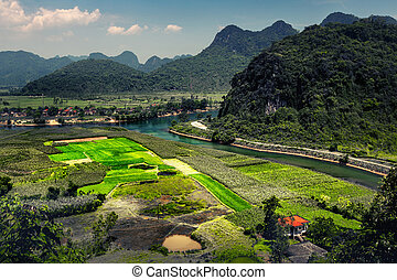 National Park of Phong Nha, Vietnam - Valley with limestone...