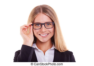 Portrait businesswoman with glasses,on white background