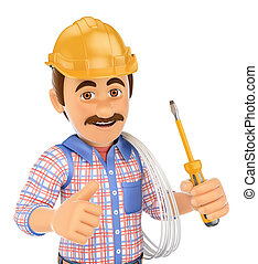 3D Electrician with a screwdriver and wire - 3d working...