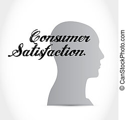 Consumer Satisfaction brain sign concept illustration design...