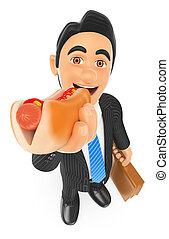 3D Businessman eating a hot dog - 3d business people....