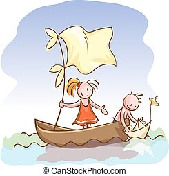 Children in boat launch a toy paper ship on the water,...