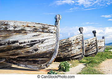 Old rowboats - Old wooden rowboats used for tuna fishing in...