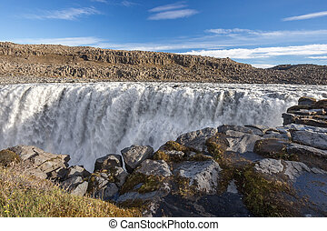 Dettifoss waterfall. Autumn travel in Iceland