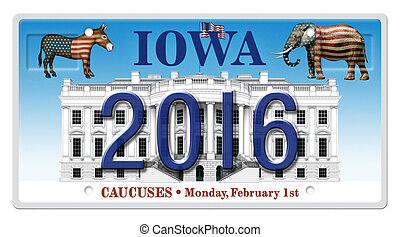 2016 Election License Plate - Digital illustration of a...