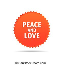 Vector Orange Banner. PEACE and LOVE