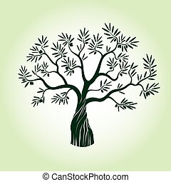 Green Olive Tree. Vector.