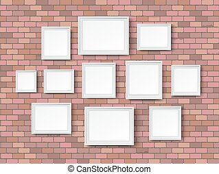 blank picture frame red bricks
