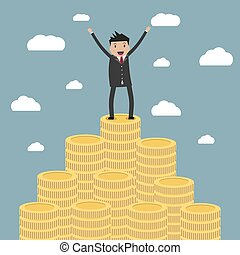 businessman standing on the huge money staircase - Cartoon...