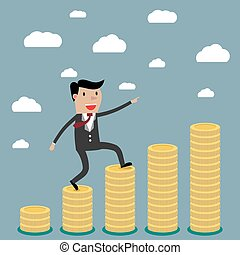 businessman step on stack of coin