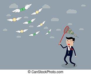 Businessman running with butterfly net