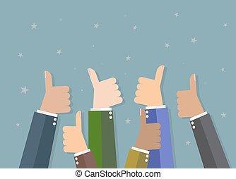 Businessman hold thumbs up - Six cartoon Businessmans hands...