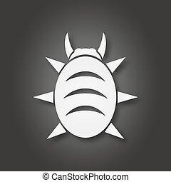 White bug icon