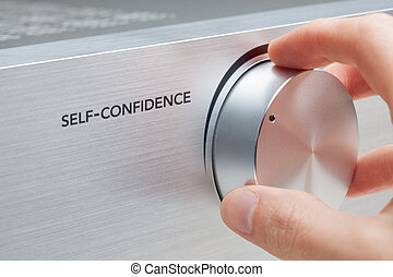 Self-confidence improvement concept. Coach or mentor help to...