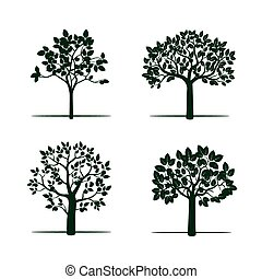 Set of Green Apple Trees Vector Illustration