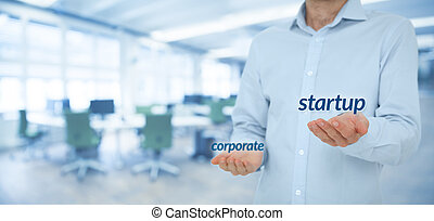 Startup versus corporate business concept. Young businessman...