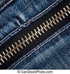 Zipper on jeans - Zipper on a blue jeans