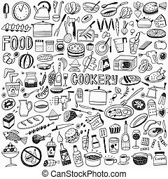food cookery doodles - food cookery icons in sketch style ,...