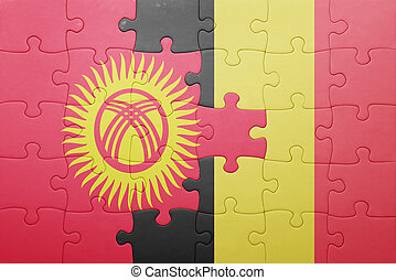 puzzle with the national flag of kyrgyzstan and belgium