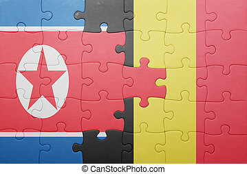 puzzle with the national flag of north korea and belgium