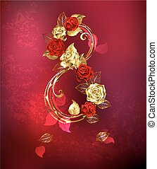 Eight of roses - Eight of interwoven gold and red roses on...
