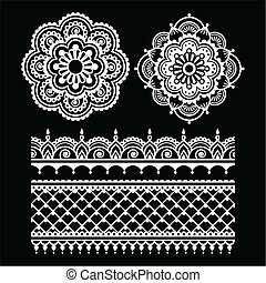 Mehndi, Indian Henna tattoo white s - Vector ornament -...