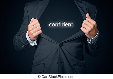 Confident businessman concept. Boastful manager with opened...