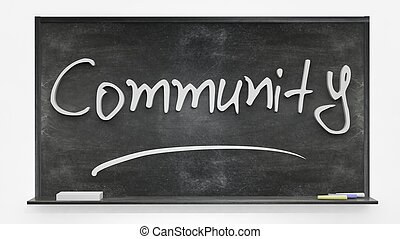 Community written on blackboard