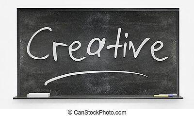 Creative written on blackboard