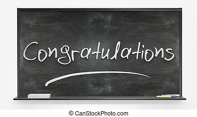 Congratulations written on blackboard