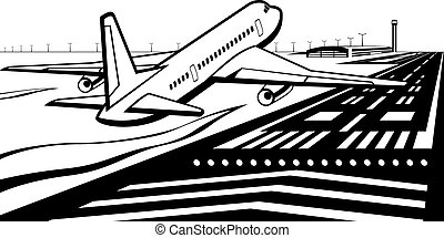 Airplane landed on runway at airport - vector illustration