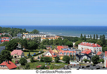 Coast line at the Baltic sea - Aerial view of the beach and...