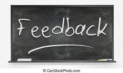 'Feedback' written on blackboard