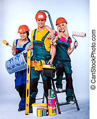 Group people of builder  with construction tools.