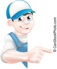 Pointing cartoon tradesman - Cartoon mechanic, plumber,...