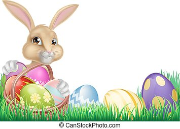 Cartoon Easter Bunny and Eggs